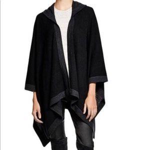AQUA 100% merino wool hooded sweater poncho